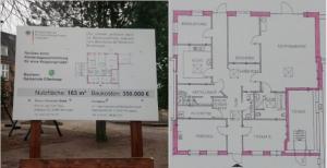 Das Bauschild und der Grundriss für die Kinderkrippe